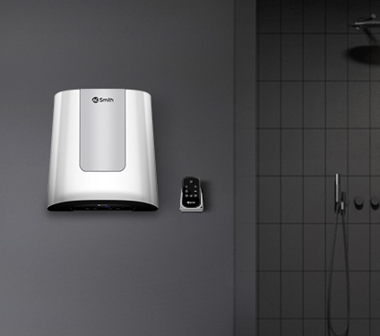 A. O. Smith Water Heater fitted in Bathroom with remote